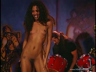 A Sexy Ebony Babe Gets Fucked On Stage As A Band Plays